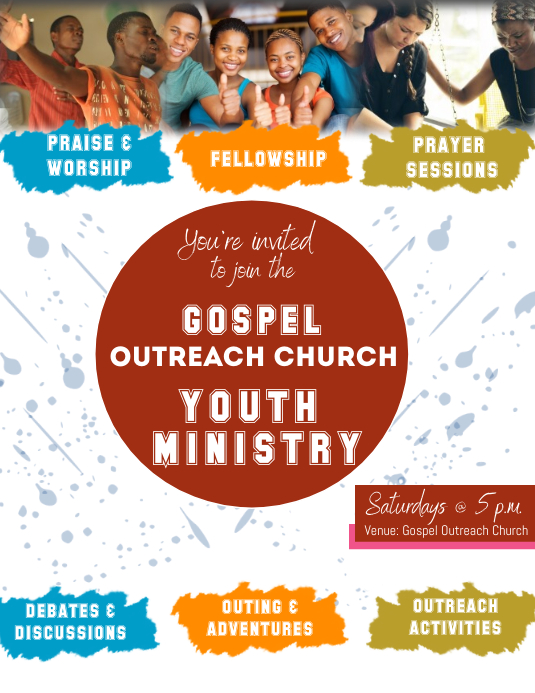 Youth Ministry Flyer Pamflet (Letter AS) template