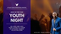 YOUTH NIGHT church flyer Цифровой дисплей (16 : 9) template