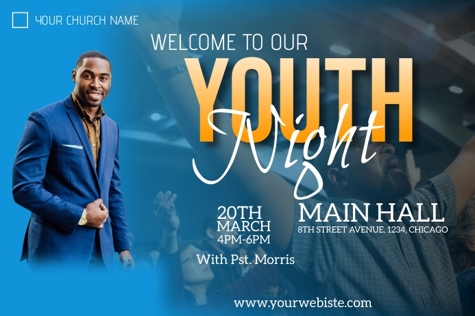 youth night church flyer Poster template