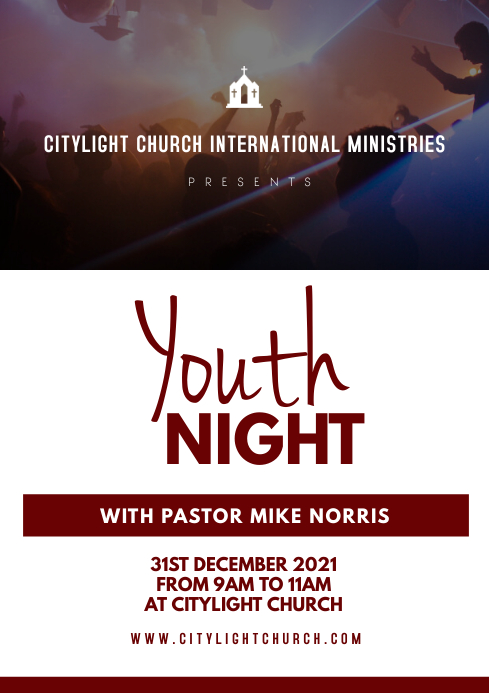 YOUTH NIGHT CHURCH flyer A3 template