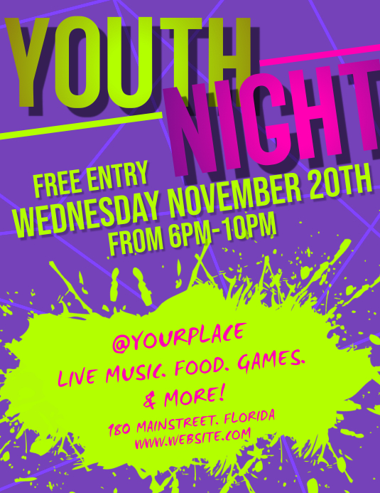 YOUTH NIGHT Pamflet (Letter AS) template