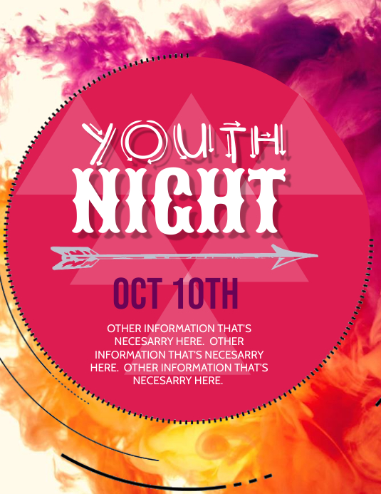Youth Night Event Flyer Template Pamflet (Letter AS)