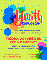 Youth Night Explosion Church Flyer