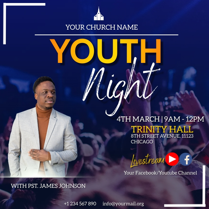 youth night flyer Publicación de Instagram template