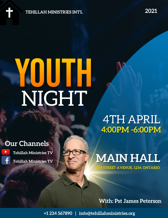 youth night flyer Pamflet (Letter AS) template
