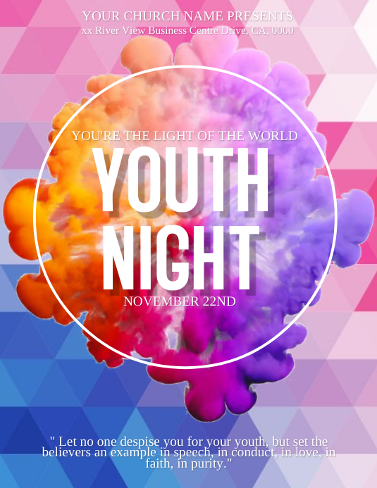 Youth Nights Event ad Flyer Template Pamflet (Letter AS)