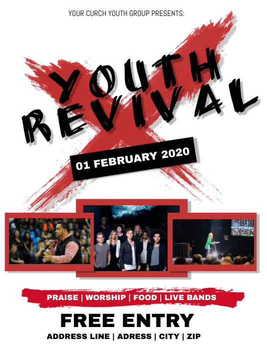 Youth Revival Church Conference Flyer Templat Pamflet (Letter AS) template