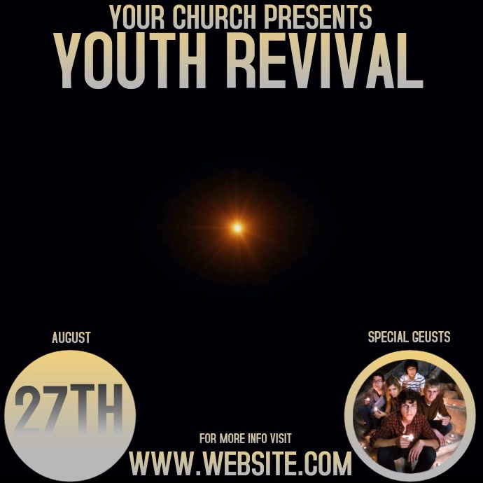 YOUTH REVIVAL VIDEO Persegi (1:1) template