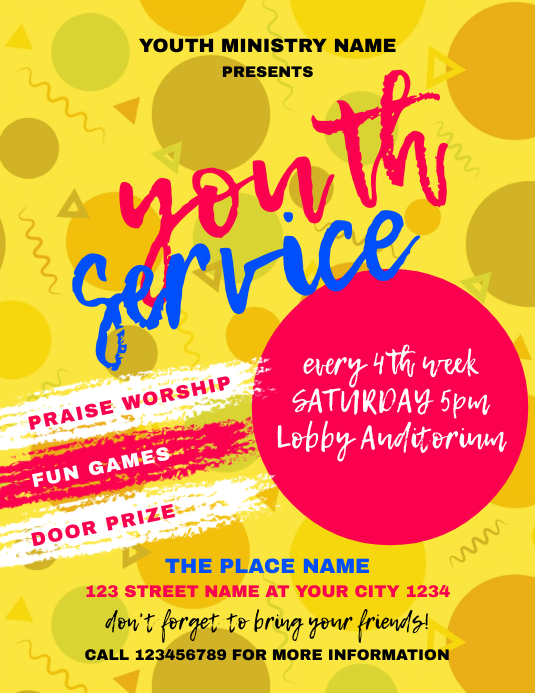 Youth Service Church Event Flyer Pamflet (Letter AS) template