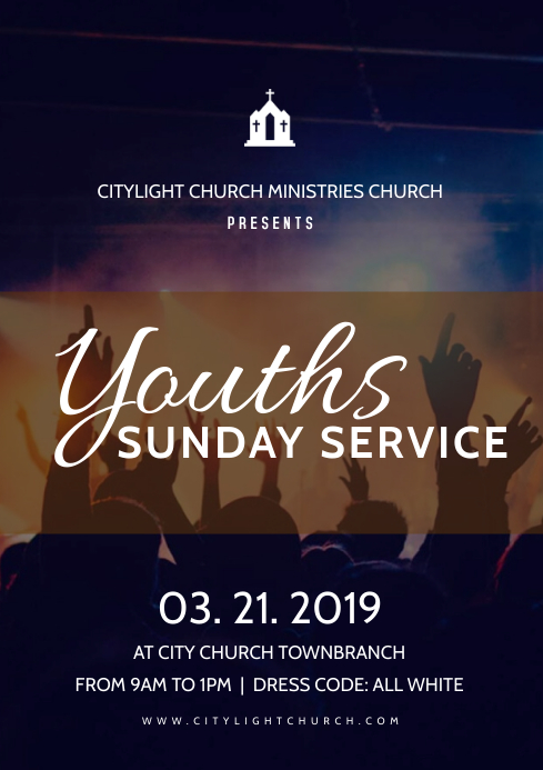 youth service church flyer A3 template