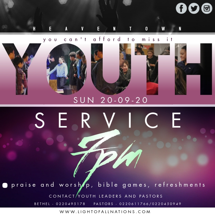 Youth Service Instagram Post template