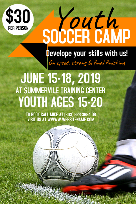 Youth Soccer Camp Poster Template  Postermywall