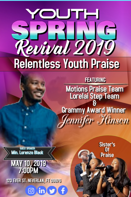 Youth Spring Relentless Revival Poster template