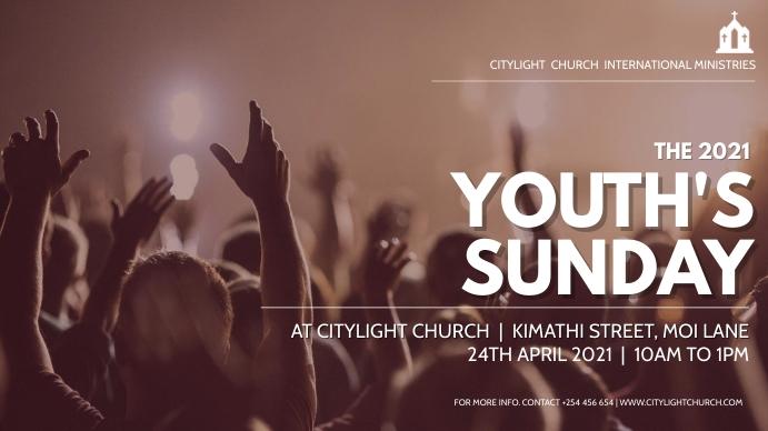 YOUTH sunday church flyer Digitalt display (16:9) template
