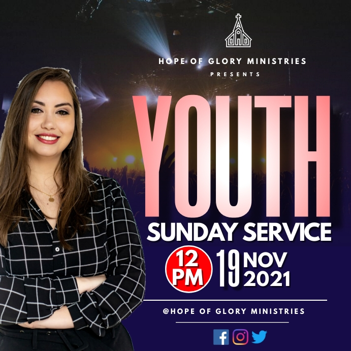 Youth Sunday Service Wpis na Instagrama template