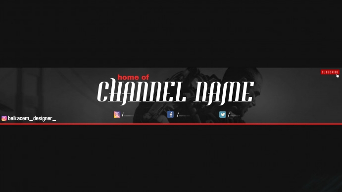 youtube banner by belkacem designer Omslagfoto YouTube-kanaal template