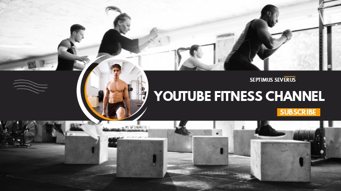 youtube fitness channel cover design template Omslagfoto YouTube-kanaal