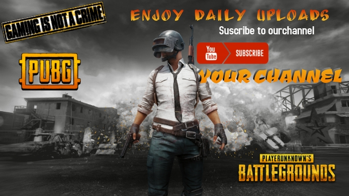 youtube gaming channel cover Pubg template