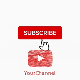 Youtube subscribe animated drawing video ad 2 Persegi (1:1) template