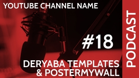 Youtube Thumbnail Red Podcast Template