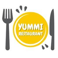 YUMMI fork and knife restaurant logo editable Ilogo template