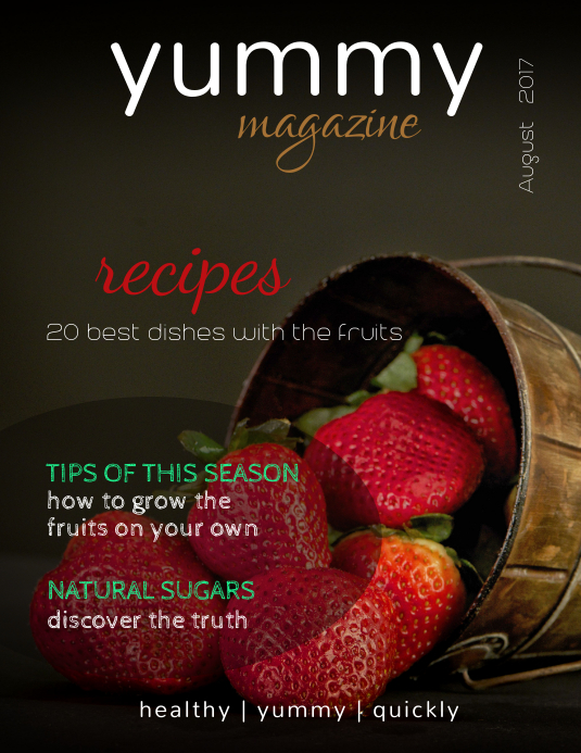 Yummy Food Magazine Cover Template Pamflet (Letter AS)