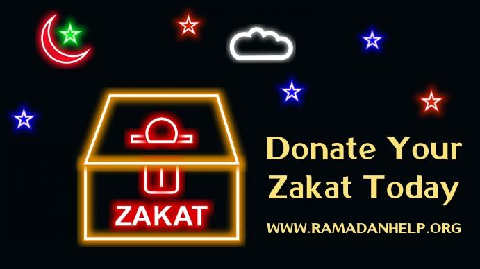 Zakat al Fitr Donation Poster Template Tampilan Digital (16:9)