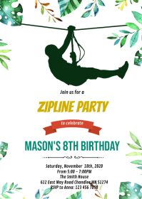 Zip line birthday party invitation