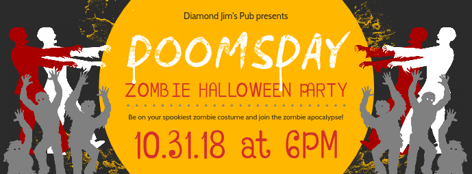 Zombie Halloween Party Invitation Facebook Cover