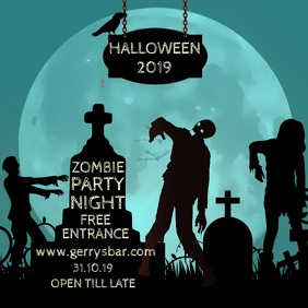 Zombie Party Night Halloween Template