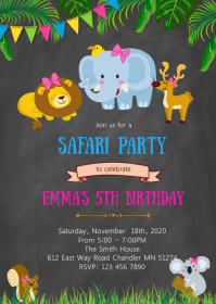 Zoo birthday party invitation