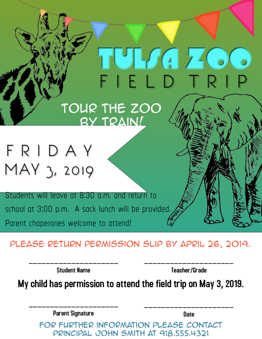 zoo field trip template postermywall