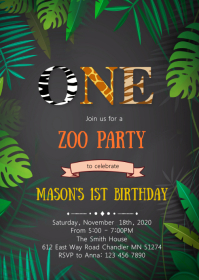 zoo ONE 1st birthday party invitation