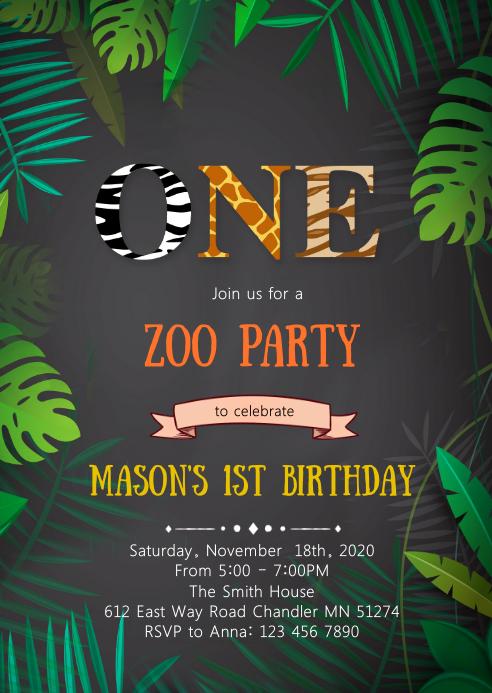 zoo ONE 1st birthday party invitation