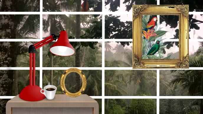 Zoom Latar Belakang Hujan Rumah Pertemuan Virtual