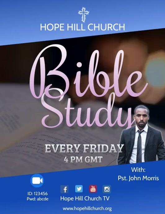 Zoom Bible Study Video Flyer 传单(美国信函) template