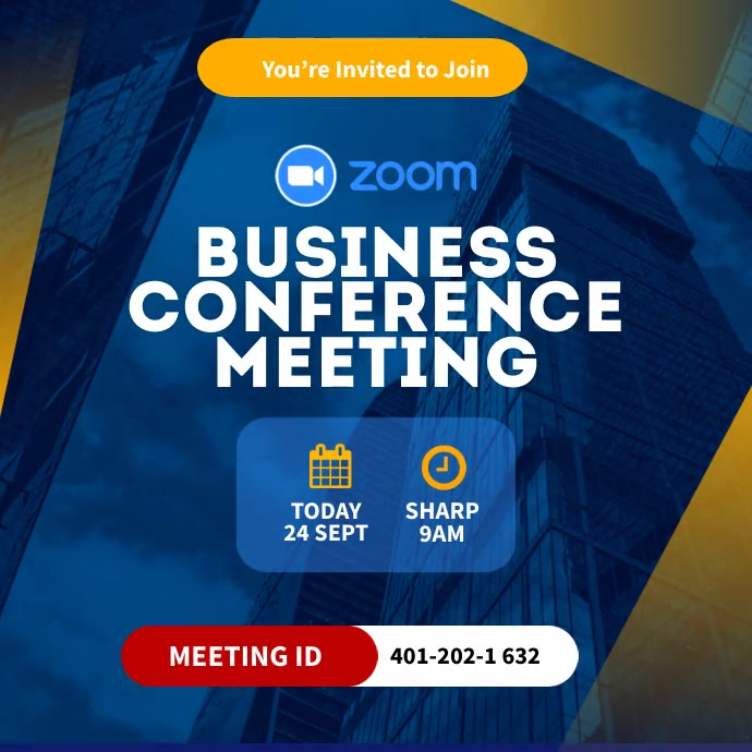 Zoom Business Conference meting invitation Post Instagram template