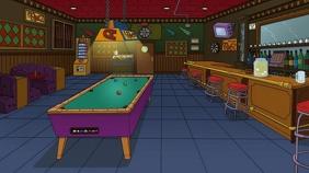 Zoom Cartoon Bar Darts Billiards Цифровой дисплей (16 : 9) template