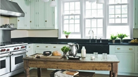 ZOOM Light Green Kitchen Background