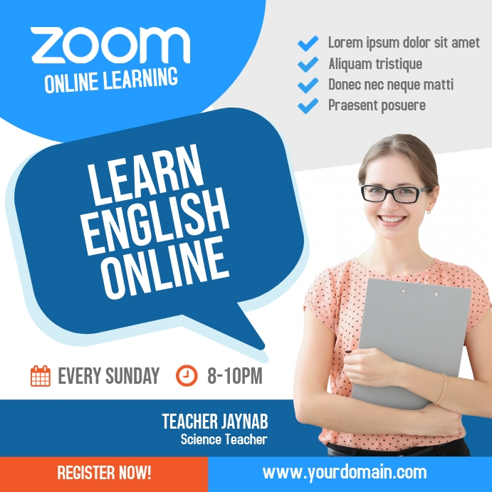 Zoom Online Classes Instagram Post Square (1:1) template