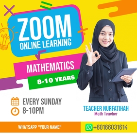 Zoom Online Classes Mathematic Poster Square (1:1) template