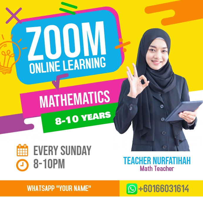 Zoom Online Classes Mathematic Poster Persegi (1:1) template