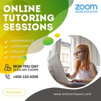 Zoom Online Classes Social Media Post Square (1:1) template