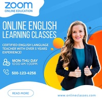 Zoom Online English Classes Social Media Post Cuadrado (1:1) template
