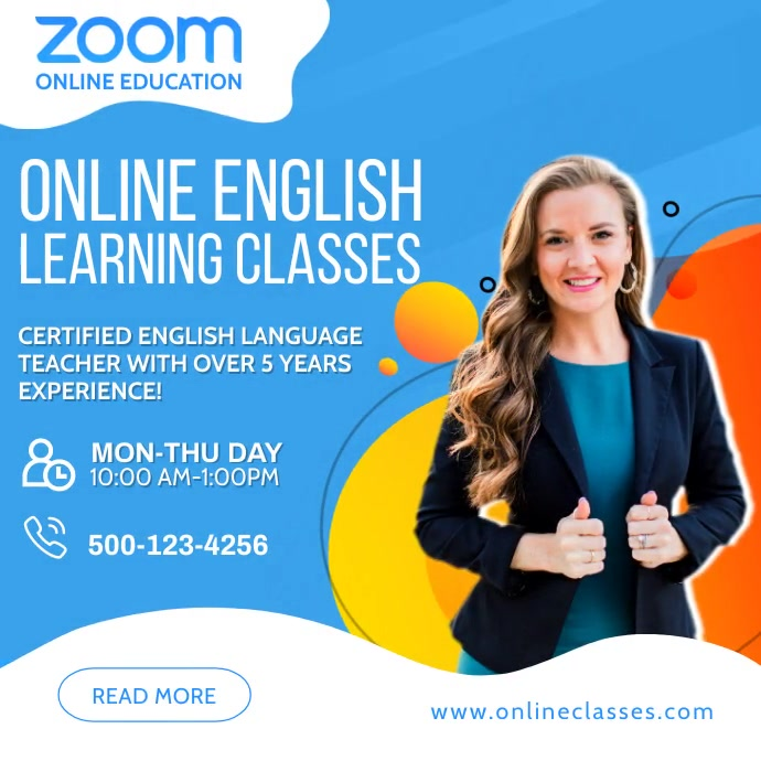 Zoom Online English Classes Social Media Post Square (1:1) template