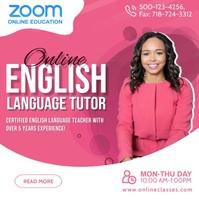 Zoom Online English Tutoring Post Template Vierkant (1:1)