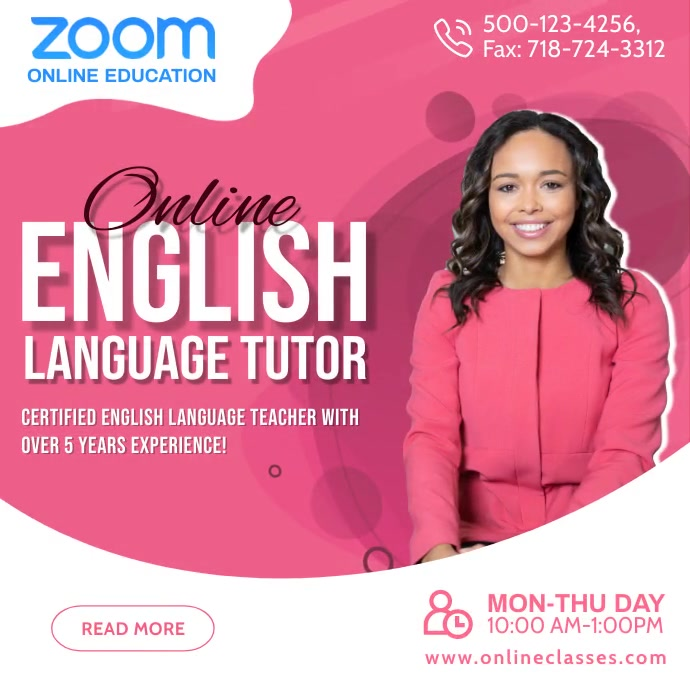 Zoom Online English Tutoring Post Template 方形(1:1)