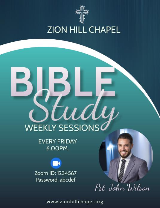 Zoom Weekly Bible Study Flyer 传单(美国信函) template