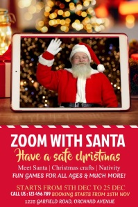 zoom with santa, christmas Plakat template
