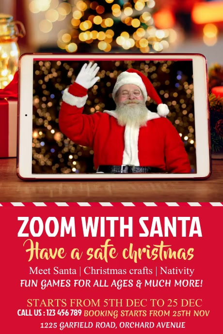 zoom with santa, christmas Poster template